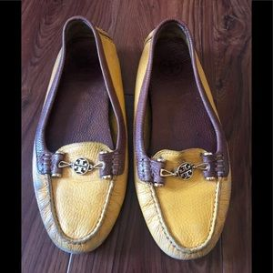 Tory Burch Kendrick Yellow Leather Loafers 10.5 M